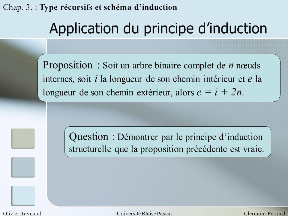 Olivier RaynaudUniversité Blaise PascalClermont-Ferrand Application du principe dinduction Proposition : Soit un arbre binaire complet de n nœuds inte