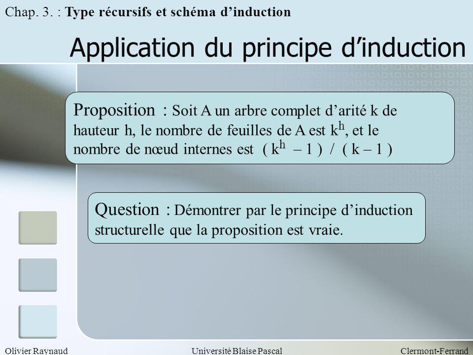 Olivier RaynaudUniversité Blaise PascalClermont-Ferrand Application du principe dinduction Proposition : Soit A un arbre complet darité k de hauteur h