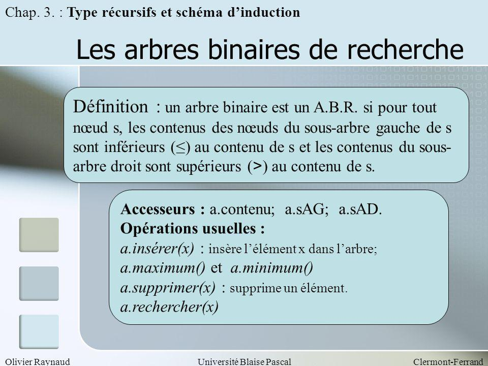 Olivier RaynaudUniversité Blaise PascalClermont-Ferrand Les arbres binaires de recherche Définition : un arbre binaire est un A.B.R. si pour tout nœud