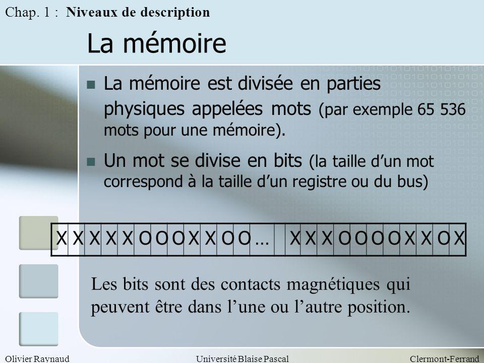 Olivier RaynaudUniversité Blaise PascalClermont-Ferrand La mémoire La mémoire est divisée en parties physiques appelées mots (par exemple 65 536 mots