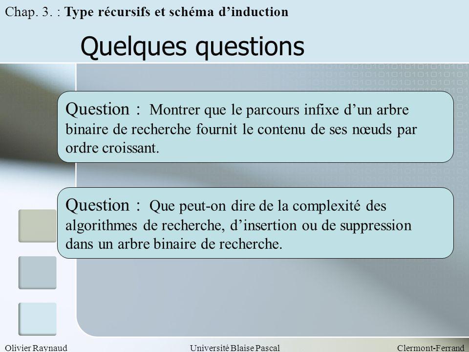 Olivier RaynaudUniversité Blaise PascalClermont-Ferrand Quelques questions Question : Montrer que le parcours infixe dun arbre binaire de recherche fo