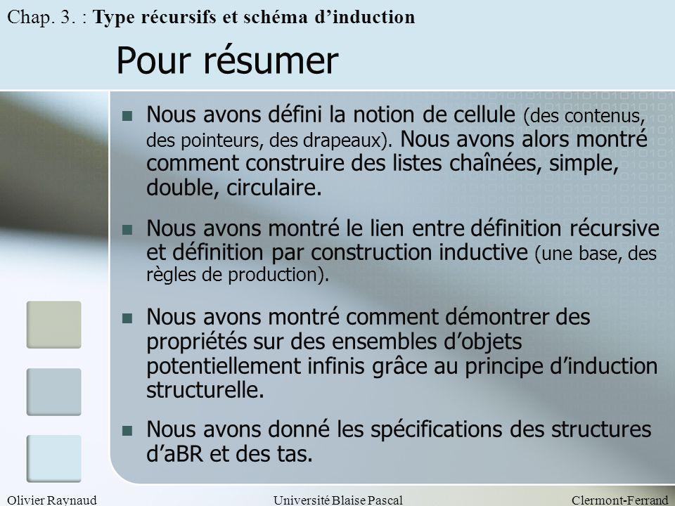 Olivier RaynaudUniversité Blaise PascalClermont-Ferrand Pour résumer Nous avons défini la notion de cellule (des contenus, des pointeurs, des drapeaux