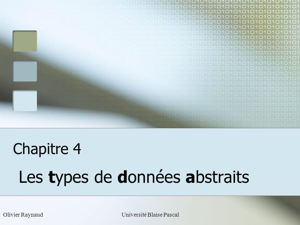Olivier RaynaudUniversité Blaise Pascal Chapitre 4 Les types de données abstraits