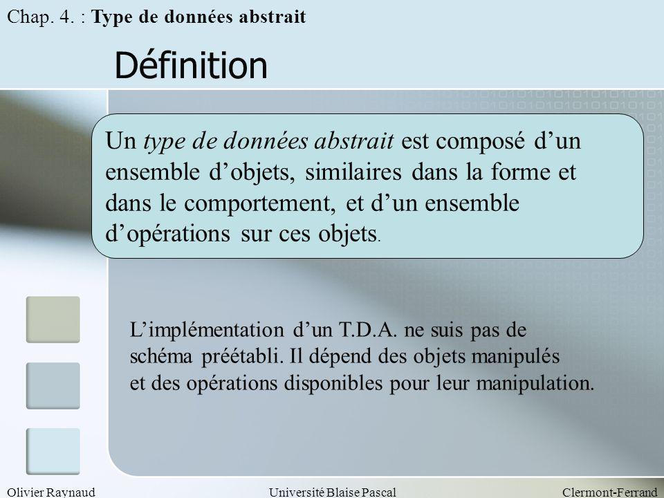 Olivier RaynaudUniversité Blaise PascalClermont-Ferrand Définition Un type de données abstrait est composé dun ensemble dobjets, similaires dans la fo