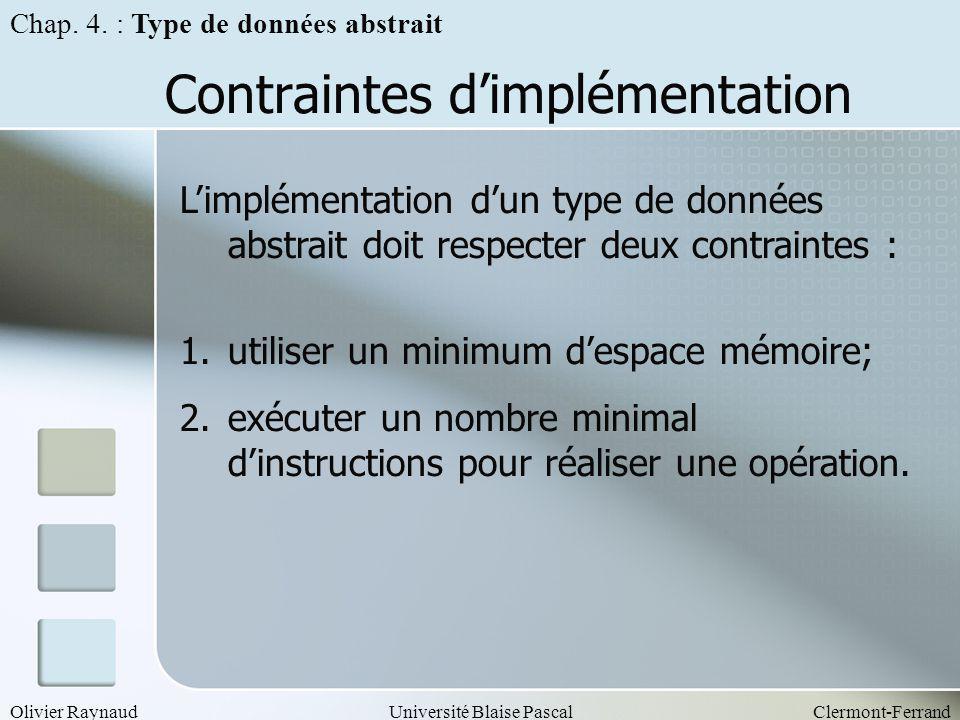 Olivier RaynaudUniversité Blaise PascalClermont-Ferrand Contraintes dimplémentation Limplémentation dun type de données abstrait doit respecter deux c