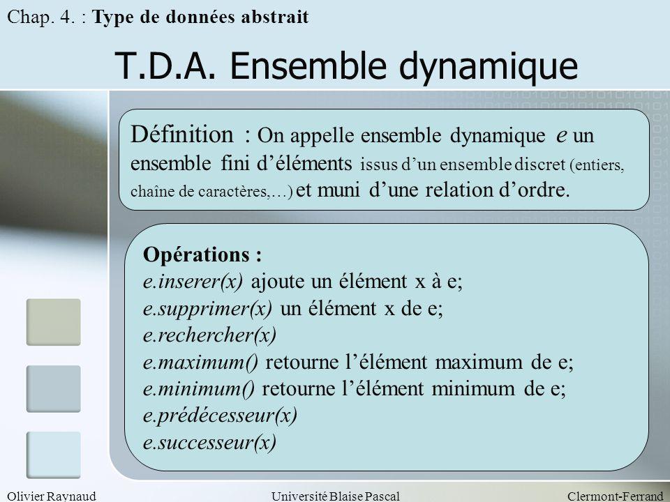 Olivier RaynaudUniversité Blaise PascalClermont-Ferrand T.D.A. Ensemble dynamique Opérations : e.inserer(x) ajoute un élément x à e; e.supprimer(x) un