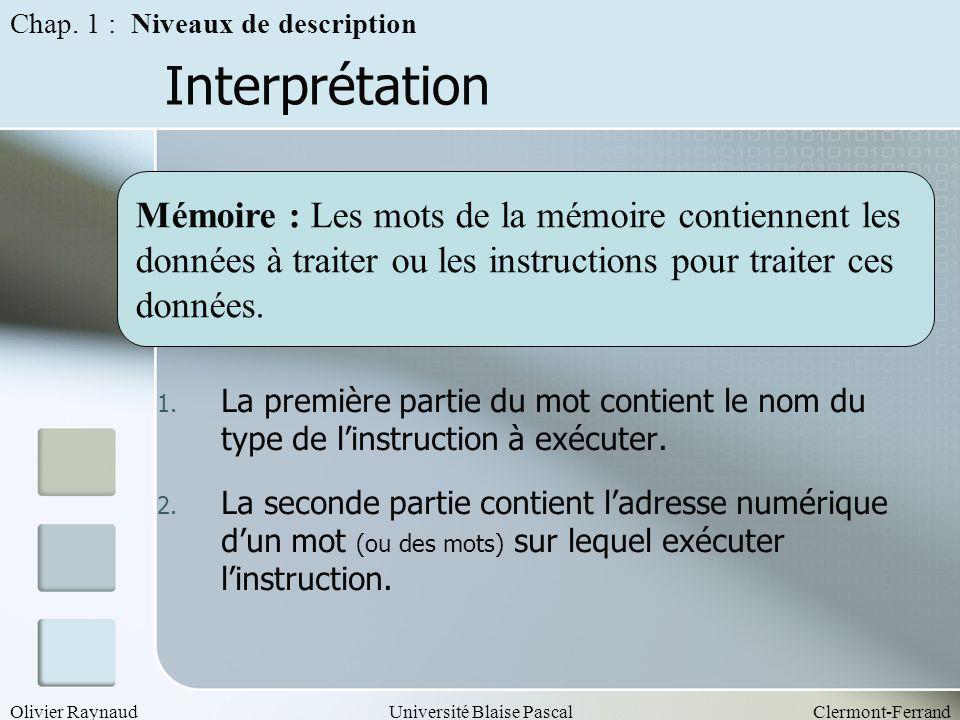 Olivier RaynaudUniversité Blaise PascalClermont-Ferrand Interprétation 1. La première partie du mot contient le nom du type de linstruction à exécuter