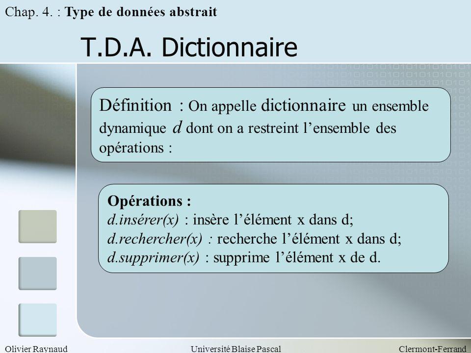 Olivier RaynaudUniversité Blaise PascalClermont-Ferrand T.D.A. Dictionnaire Opérations : d.insérer(x) : insère lélément x dans d; d.rechercher(x) : re