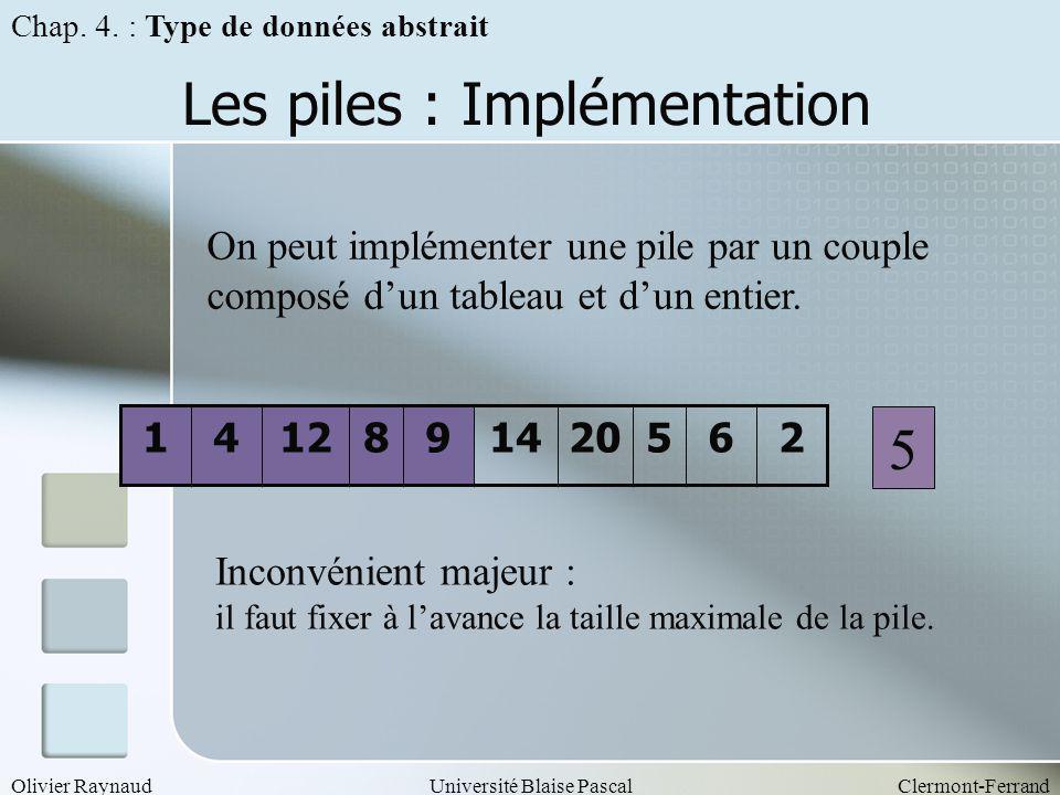Olivier RaynaudUniversité Blaise PascalClermont-Ferrand Les piles : Implémentation On peut implémenter une pile par un couple composé dun tableau et d