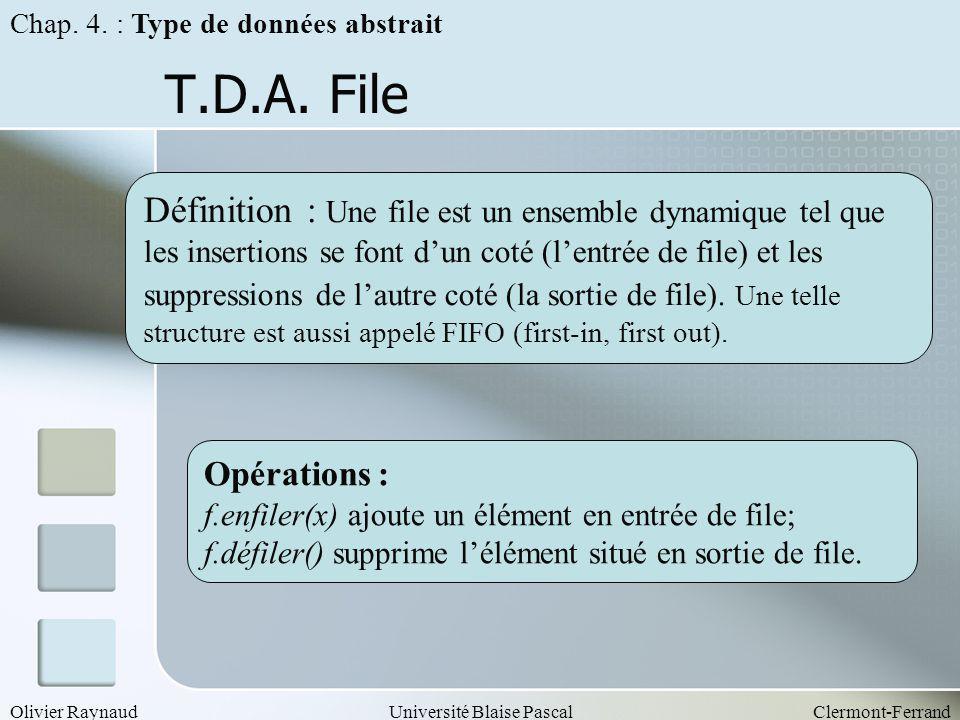 Olivier RaynaudUniversité Blaise PascalClermont-Ferrand T.D.A. File Opérations : f.enfiler(x) ajoute un élément en entrée de file; f.défiler() supprim