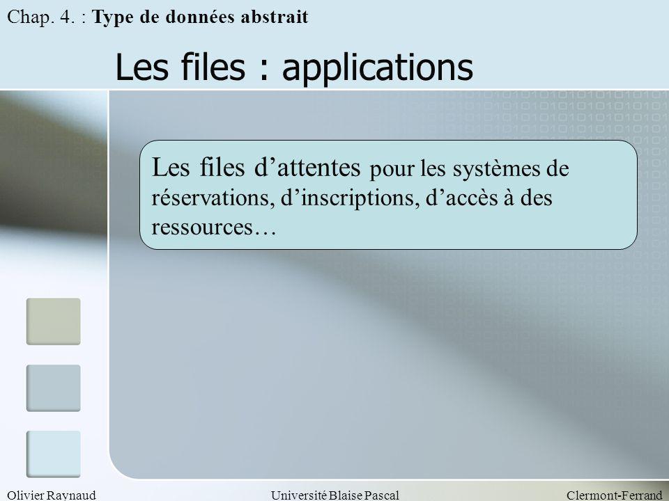 Olivier RaynaudUniversité Blaise PascalClermont-Ferrand Les files : applications Les files dattentes pour les systèmes de réservations, dinscriptions,