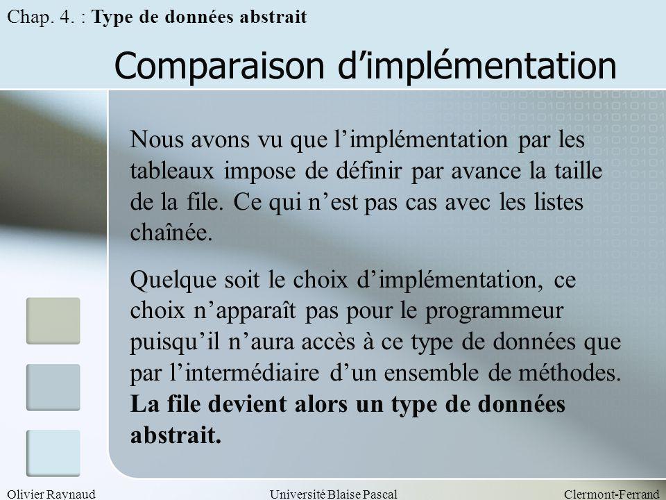 Olivier RaynaudUniversité Blaise PascalClermont-Ferrand Comparaison dimplémentation Nous avons vu que limplémentation par les tableaux impose de défin