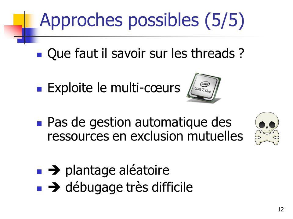 12 Approches possibles (5/5) Que faut il savoir sur les threads ? Exploite le multi-cœurs Pas de gestion automatique des ressources en exclusion mutue