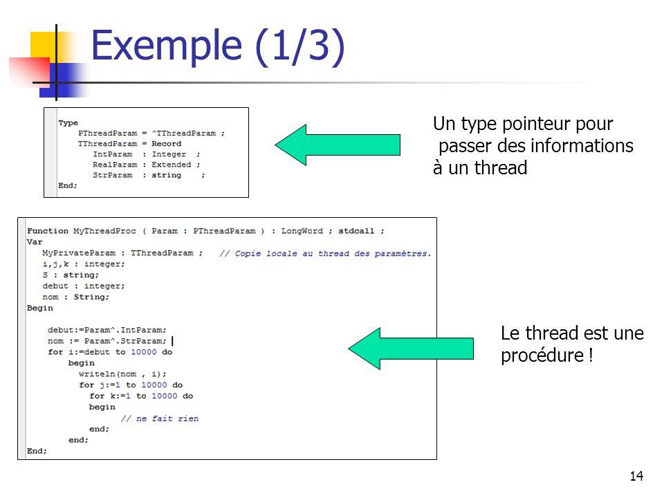 14 Exemple (1/3) Un type pointeur pour passer des informations à un thread Le thread est une procédure !