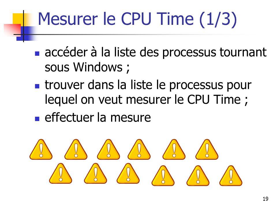 19 Mesurer le CPU Time (1/3) accéder à la liste des processus tournant sous Windows ; trouver dans la liste le processus pour lequel on veut mesurer le CPU Time ; effectuer la mesure