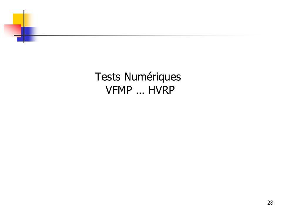 28 Tests Numériques VFMP … HVRP