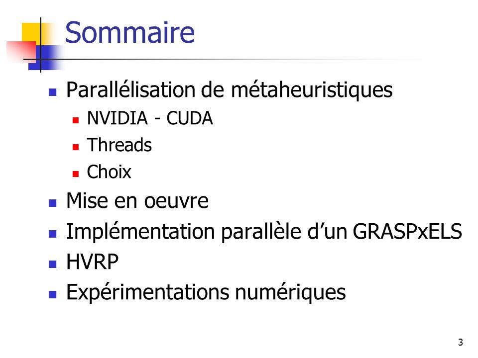 3 Parallélisation de métaheuristiques NVIDIA - CUDA Threads Choix Mise en oeuvre Implémentation parallèle dun GRASPxELS HVRP Expérimentations numériques Sommaire
