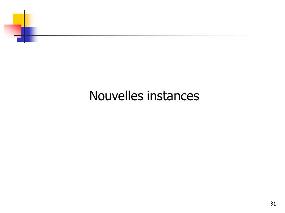 31 Nouvelles instances
