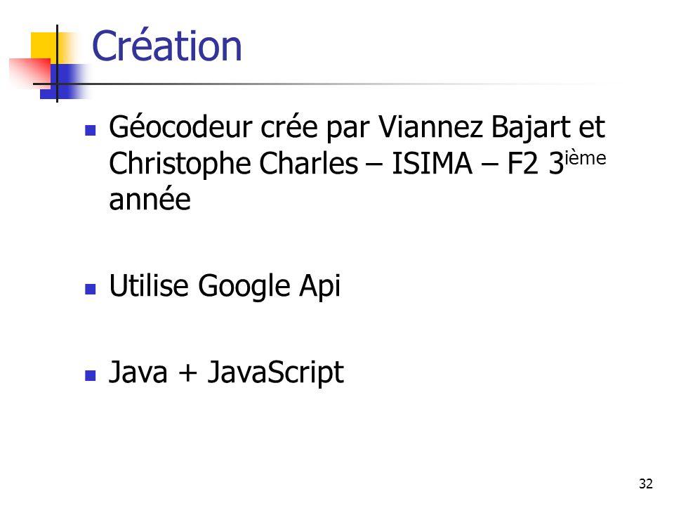 32 Création Géocodeur crée par Viannez Bajart et Christophe Charles – ISIMA – F2 3 ième année Utilise Google Api Java + JavaScript