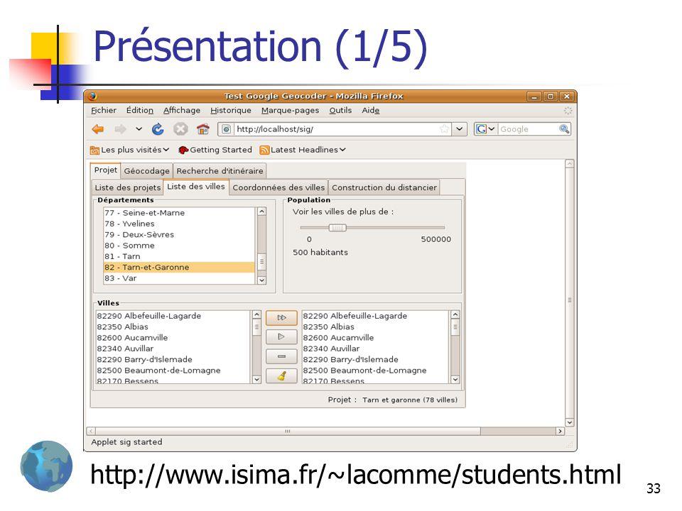 33 Présentation (1/5) http://www.isima.fr/~lacomme/students.html