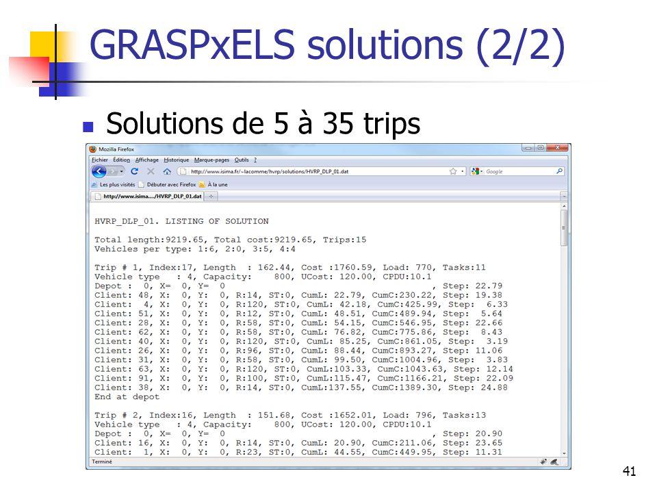 41 GRASPxELS solutions (2/2) Solutions de 5 à 35 trips