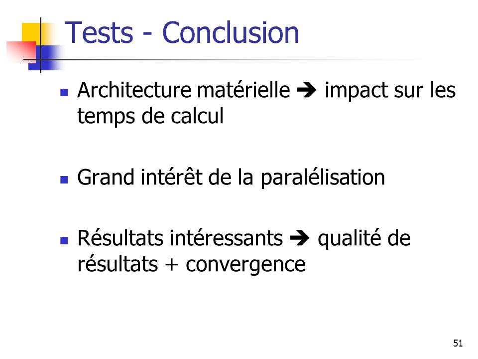 51 Tests - Conclusion Architecture matérielle impact sur les temps de calcul Grand intérêt de la paralélisation Résultats intéressants qualité de résultats + convergence
