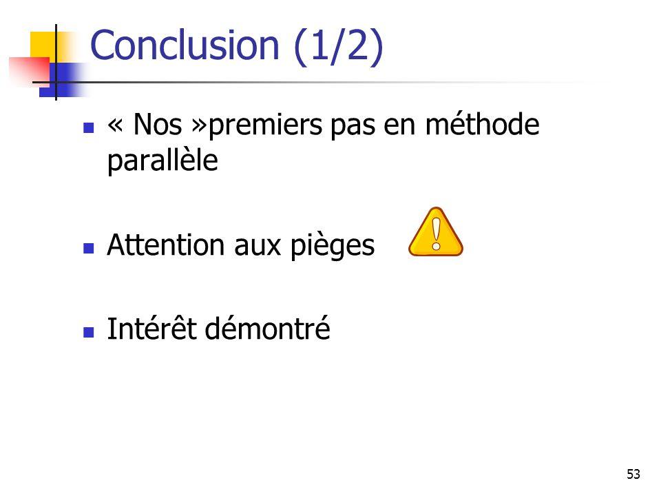 53 Conclusion (1/2) « Nos »premiers pas en méthode parallèle Attention aux pièges Intérêt démontré