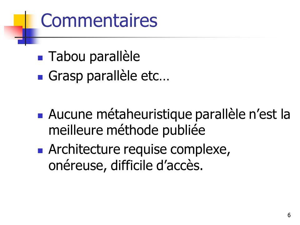 6 Commentaires Tabou parallèle Grasp parallèle etc… Aucune métaheuristique parallèle nest la meilleure méthode publiée Architecture requise complexe,
