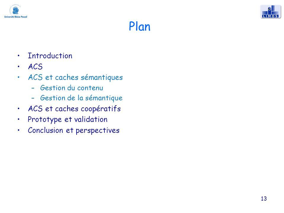 Plan Introduction ACS ACS et caches sémantiques –Gestion du contenu –Gestion de la sémantique ACS et caches coopératifs Prototype et validation Conclusion et perspectives 13
