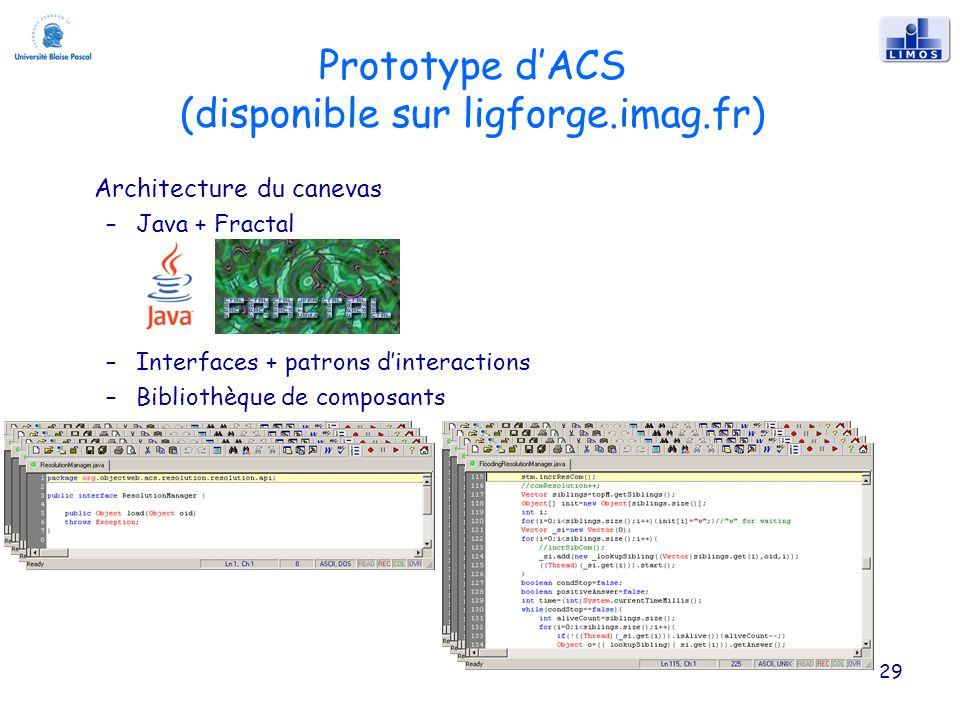 Prototype dACS (disponible sur ligforge.imag.fr) Architecture du canevas –Java + Fractal –Interfaces + patrons dinteractions –Bibliothèque de composan