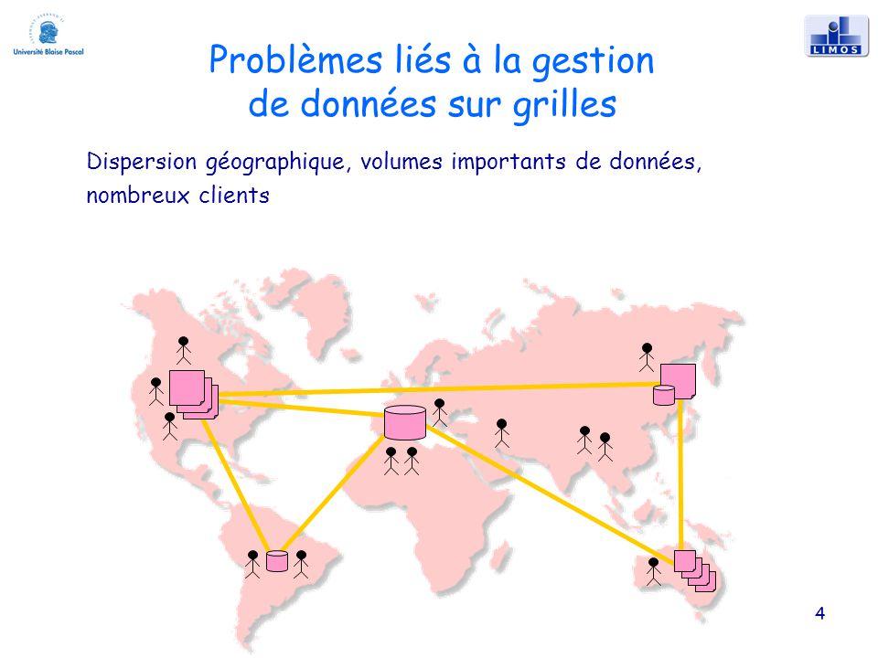 Problèmes liés à la gestion de données sur grilles 4 Dispersion géographique, volumes importants de données, nombreux clients