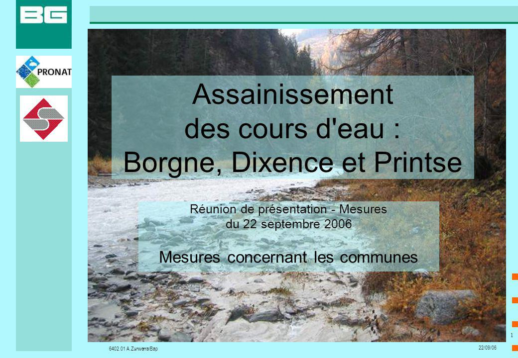 6402.01 A.Zurwerra/Bap 22/09/06 1 Assainissement des cours d'eau : Borgne, Dixence et Printse Réunion de présentation - Mesures du 22 septembre 2006 M