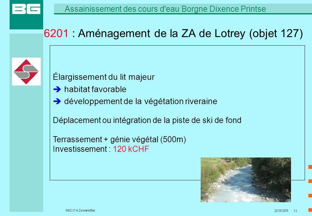 6402.01 A.Zurwerra/Bap Assainissement des cours d'eau Borgne Dixence Printse 22/09/200611 6201 : Aménagement de la ZA de Lotrey (objet 127) Élargissem
