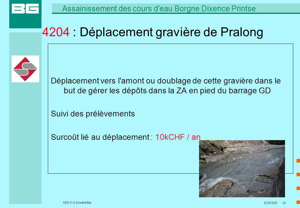 6402.01 A.Zurwerra/Bap Assainissement des cours d eau Borgne Dixence Printse 22/09/200616 4204 : Déplacement gravière de Pralong Déplacement vers l amont ou doublage de cette gravière dans le but de gérer les dépôts dans la ZA en pied du barrage GD Suivi des prélèvements Surcoût lié au déplacement : 10kCHF / an