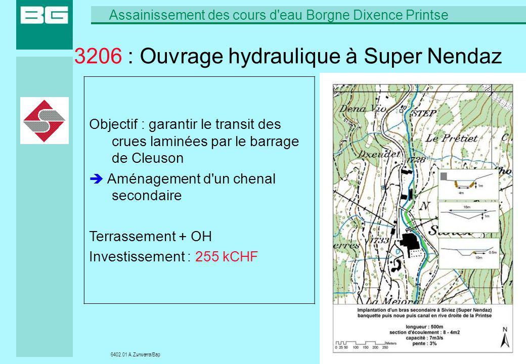 6402.01 A.Zurwerra/Bap Assainissement des cours d'eau Borgne Dixence Printse 22/09/200622 3206 : Ouvrage hydraulique à Super Nendaz Objectif : garanti