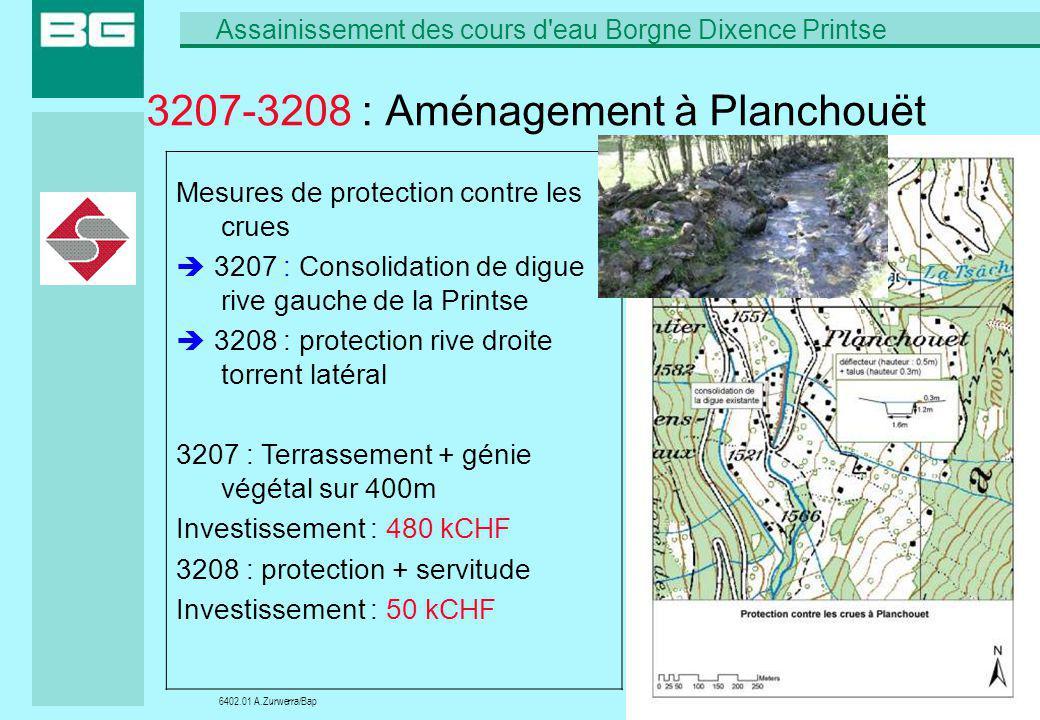 6402.01 A.Zurwerra/Bap Assainissement des cours d'eau Borgne Dixence Printse 22/09/200623 3207-3208 : Aménagement à Planchouët Mesures de protection c