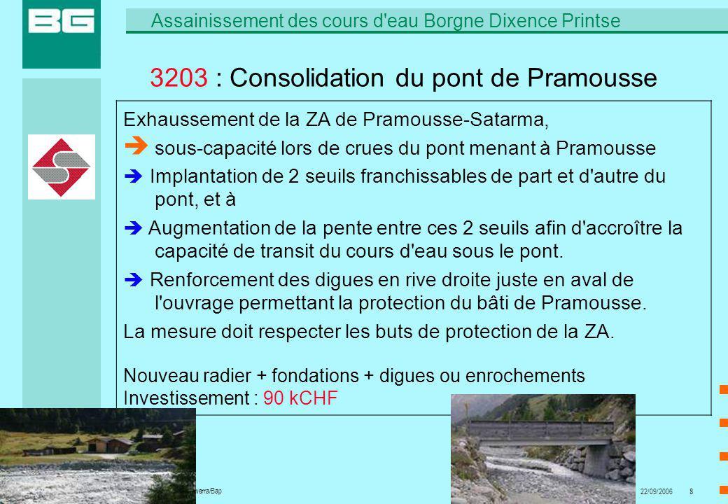 6402.01 A.Zurwerra/Bap Assainissement des cours d eau Borgne Dixence Printse 22/09/20068 3203 : Consolidation du pont de Pramousse Exhaussement de la ZA de Pramousse-Satarma, sous-capacité lors de crues du pont menant à Pramousse Implantation de 2 seuils franchissables de part et d autre du pont, et à Augmentation de la pente entre ces 2 seuils afin d accroître la capacité de transit du cours d eau sous le pont.
