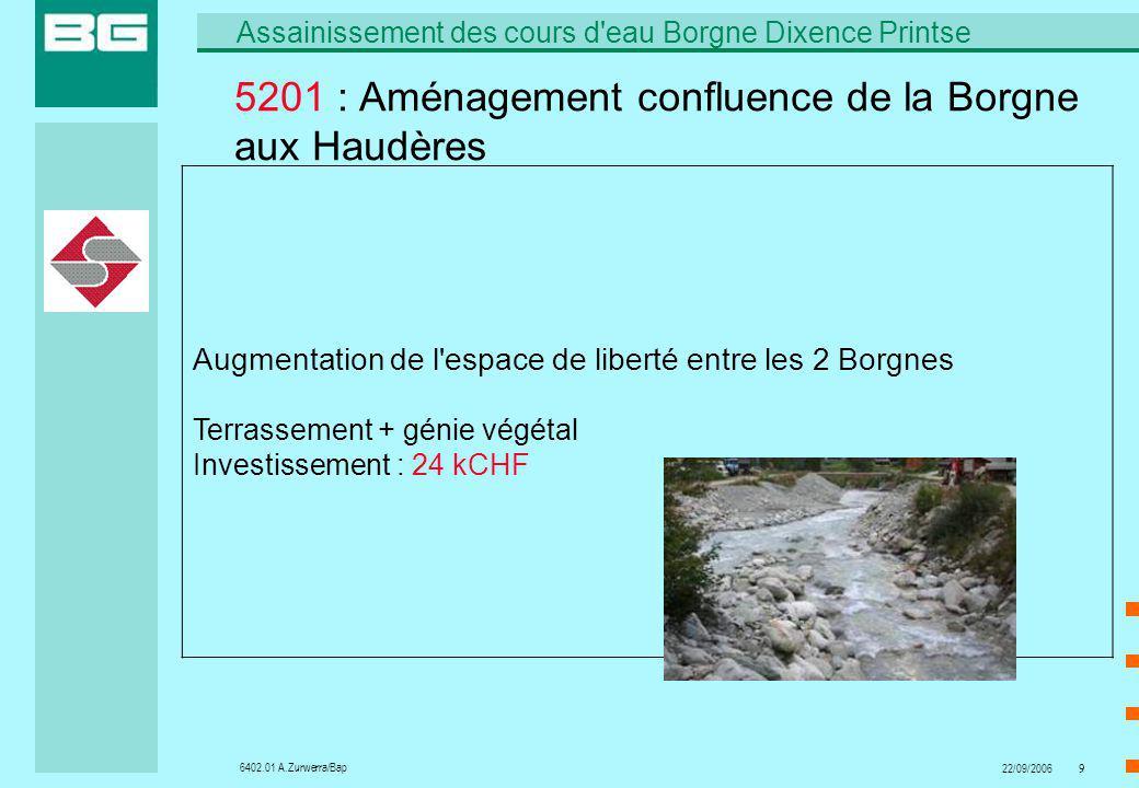 6402.01 A.Zurwerra/Bap Assainissement des cours d'eau Borgne Dixence Printse 22/09/20069 5201 : Aménagement confluence de la Borgne aux Haudères Augme