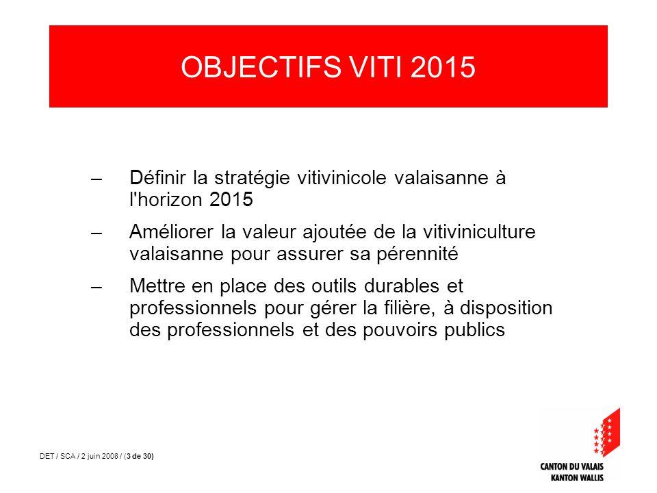 DET / SCA / 2 juin 2008 / (4 de 30) 1.Observatoire du vin 2.Chiffre daffaire / valeur ajoutée de la filière 3.Structure de la filière 4.Questionnaires aux acteurs LES OUTILS VITI 2015 Partie 2