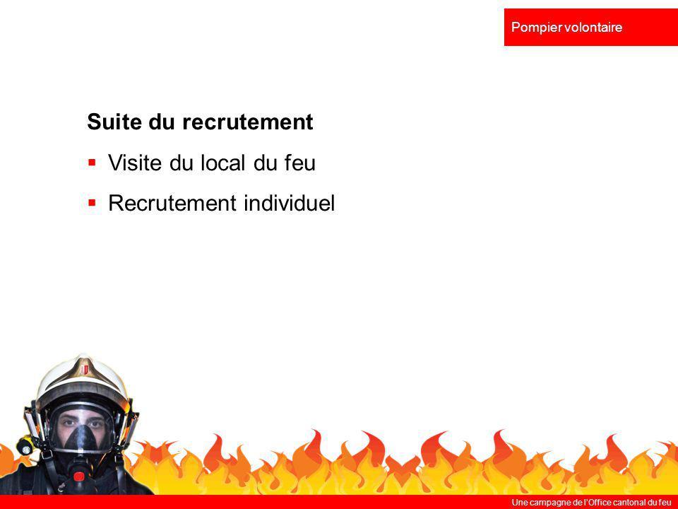 Une campagne de lOffice cantonal du feu Pompier volontaire Suite du recrutement Visite du local du feu Recrutement individuel