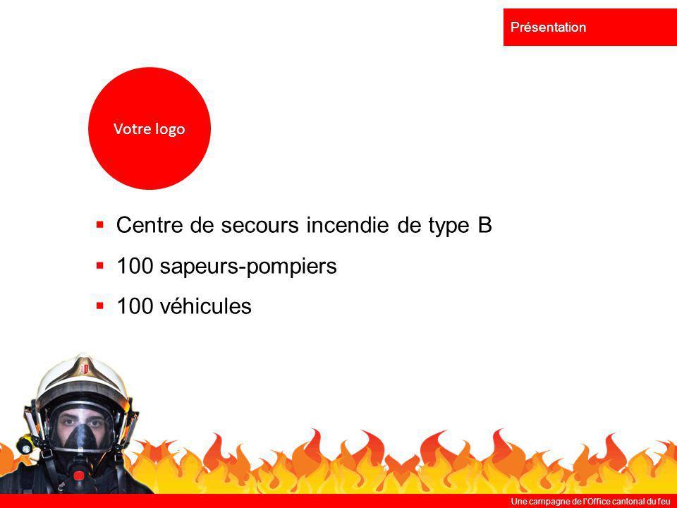 Une campagne de lOffice cantonal du feu Présentation Centre de secours incendie de type B 100 sapeurs-pompiers 100 véhicules Votre logo