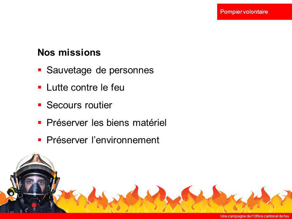 Une campagne de lOffice cantonal du feu Pompier volontaire Nos missions Sauvetage de personnes Lutte contre le feu Secours routier Préserver les biens