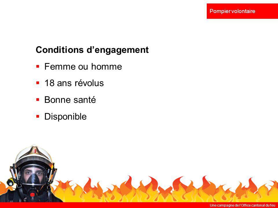 Une campagne de lOffice cantonal du feu Pompier volontaire Perspectives durant la 1 ère année Cours dintroduction de 3 jours Participations à divers cours Intégration au détachement intervenant