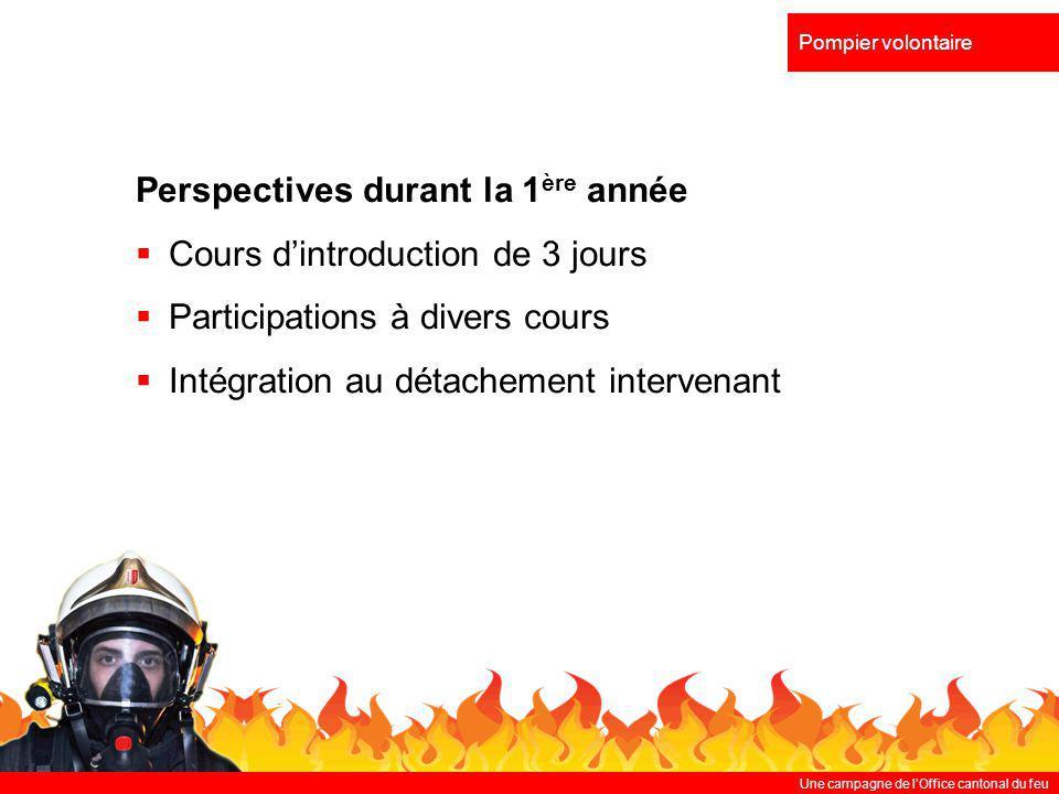 Une campagne de lOffice cantonal du feu Pompier volontaire Perspectives durant la 1 ère année Cours dintroduction de 3 jours Participations à divers c