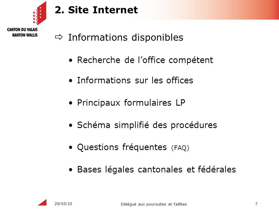 7 Délégué aux poursuites et faillites 29/03/10 2. Site Internet Informations disponibles Recherche de loffice compétent Informations sur les offices P