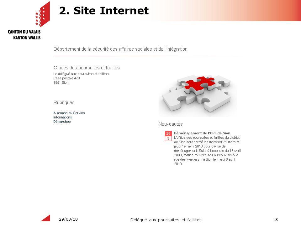 8 Délégué aux poursuites et faillites 29/03/10 2. Site Internet