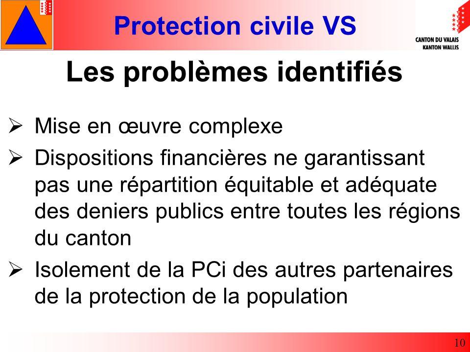 Protection civile VS 10 Mise en œuvre complexe Dispositions financières ne garantissant pas une répartition équitable et adéquate des deniers publics entre toutes les régions du canton Isolement de la PCi des autres partenaires de la protection de la population Les problèmes identifiés