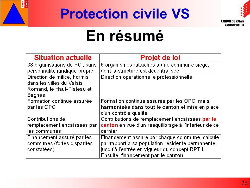 Protection civile VS 26 En résumé