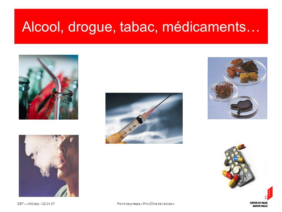 Point de presse « Prix Dîme de lalcool »DET – JMC/alp / 22.01.07 Alcool, drogue, tabac, médicaments…