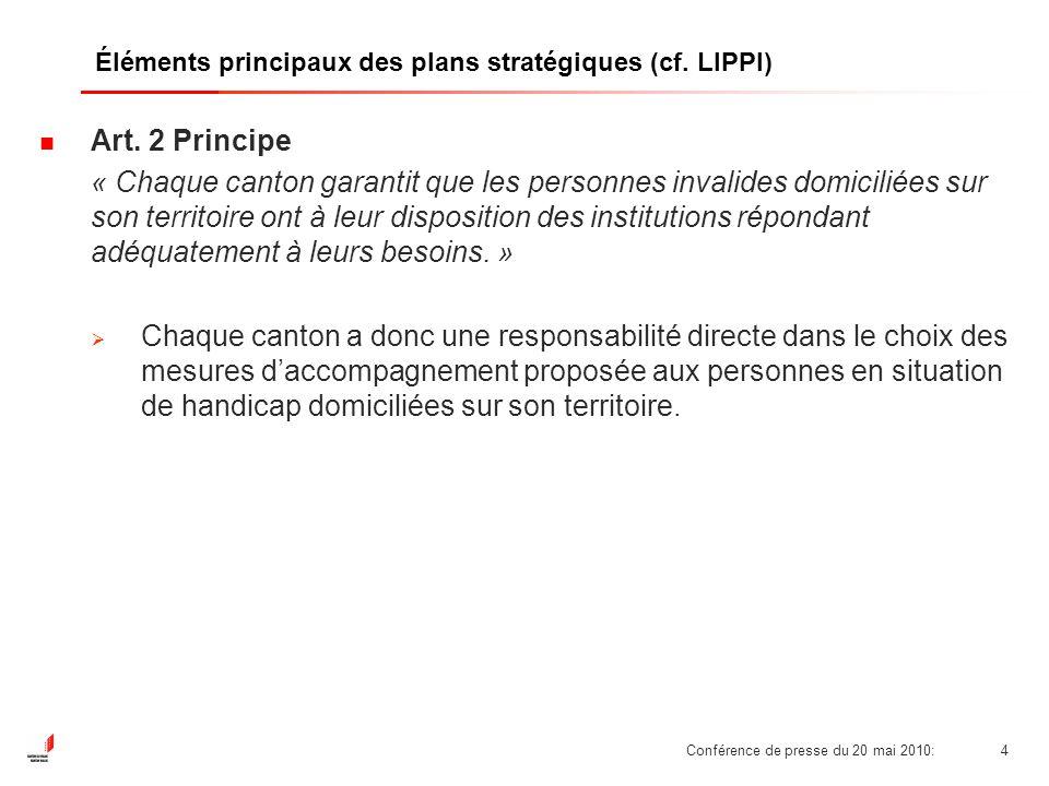 Conférence de presse du 20 mai 2010:5 Éléments principaux des plans stratégiques (cf.